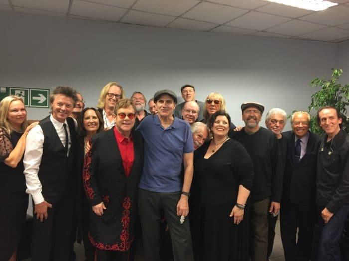 Elton John, James and the bands. (Photo by Sam Feldman)